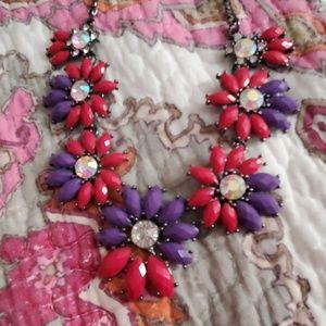 🍇 Amrita Singh Pink&Purple Rhinestone Necklace